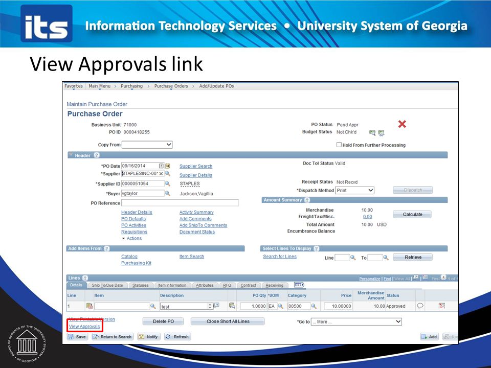 View Approvals link