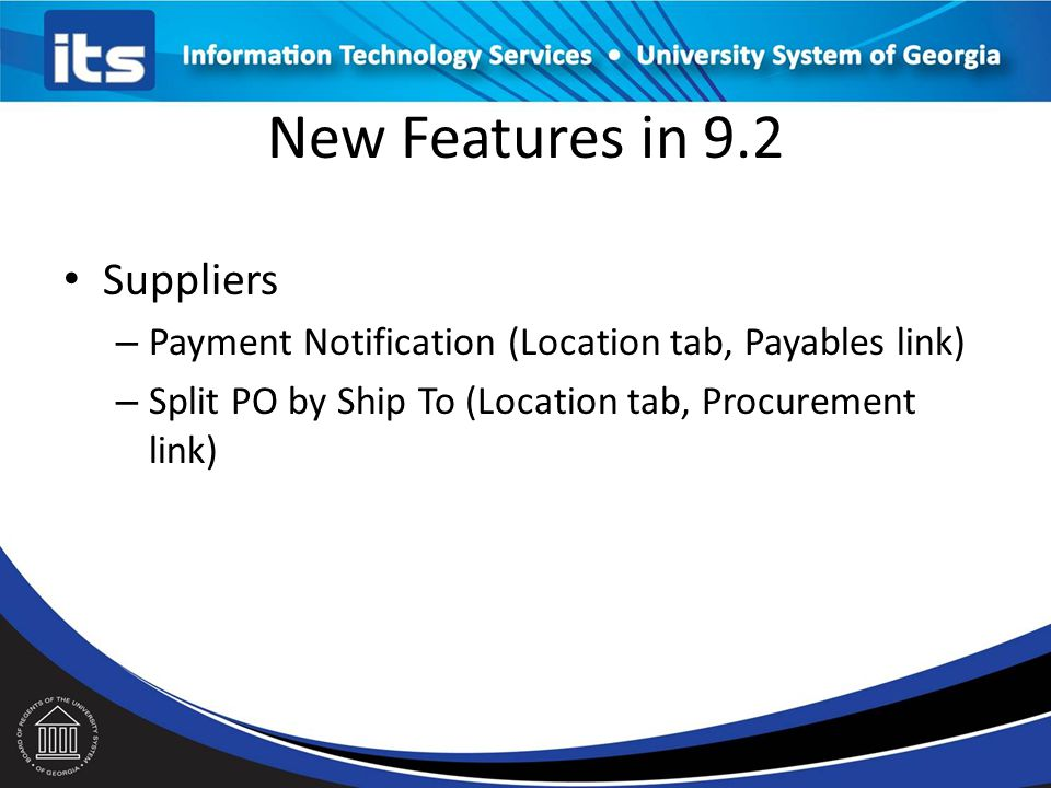 New Features in 9.2 Suppliers
