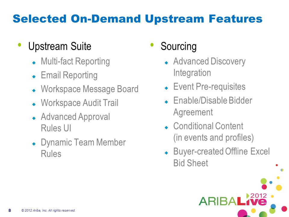 Selected On-Demand Upstream Features