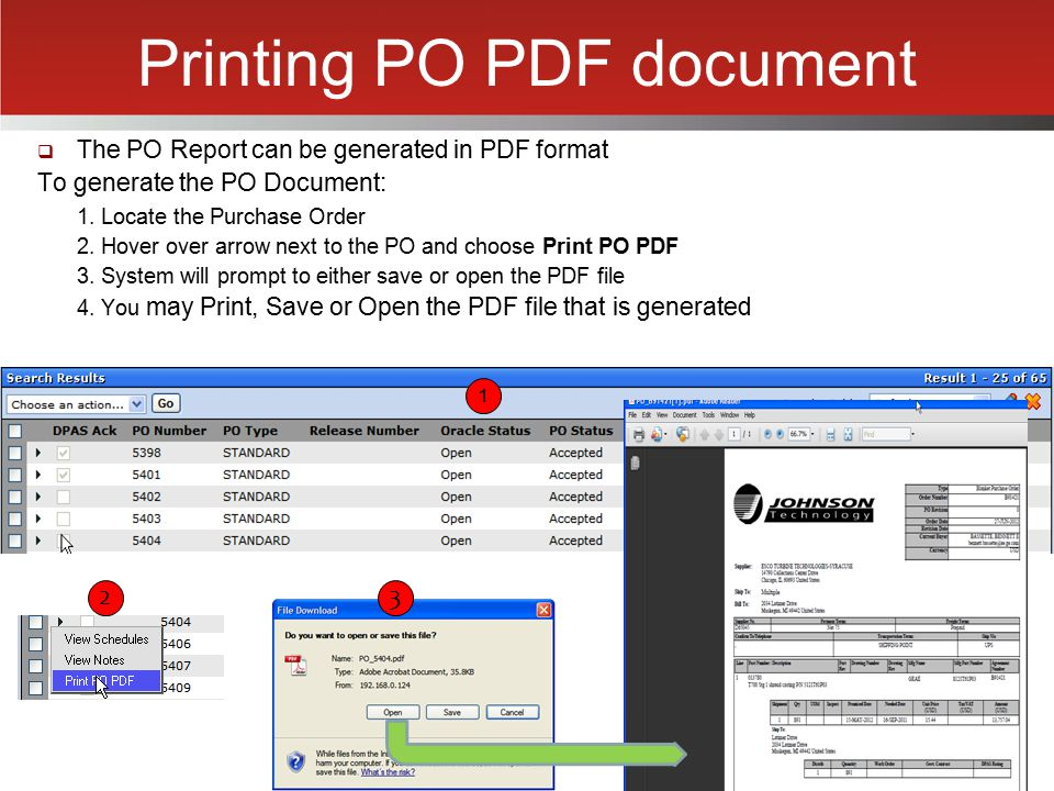 Printing PO PDF document