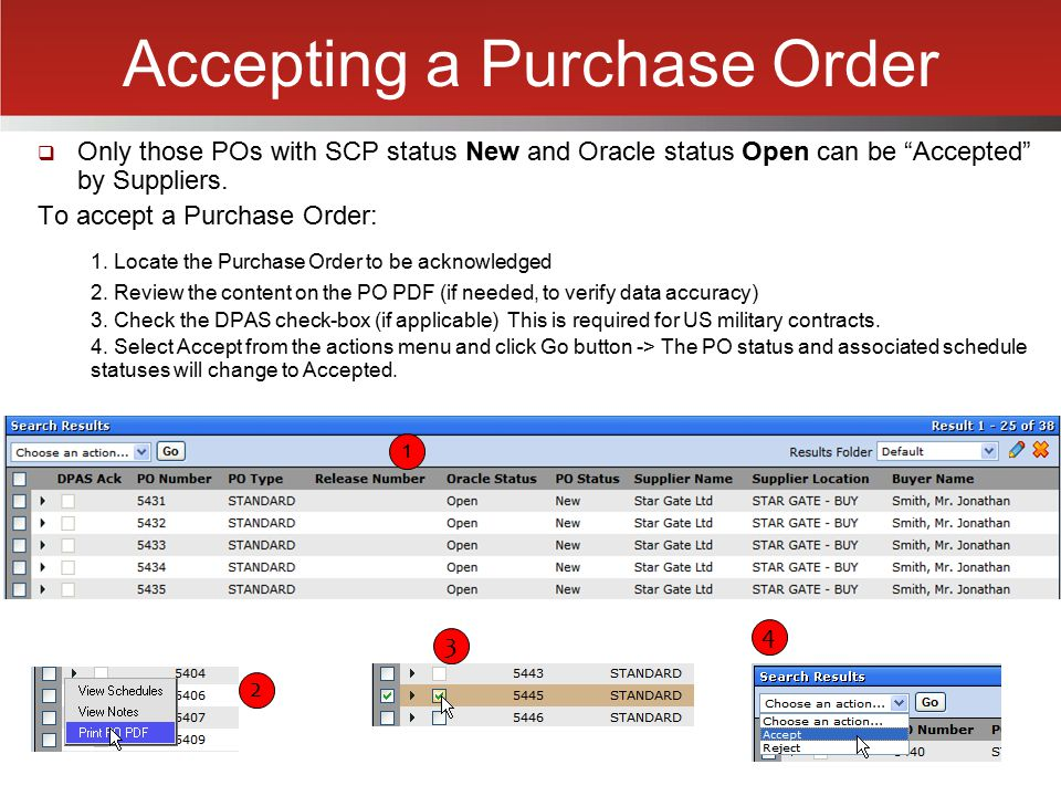 Accepting a Purchase Order