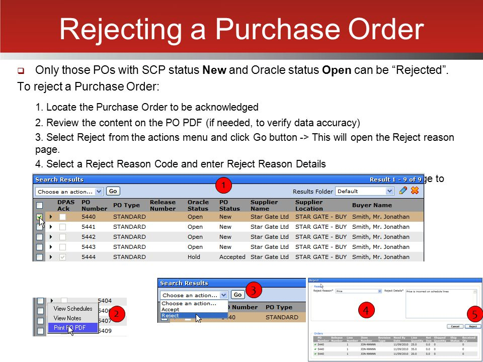 Rejecting a Purchase Order