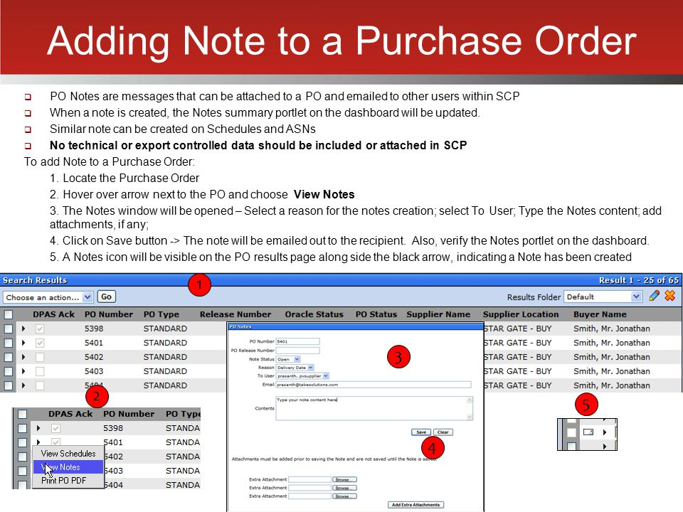Adding Note to a Purchase Order