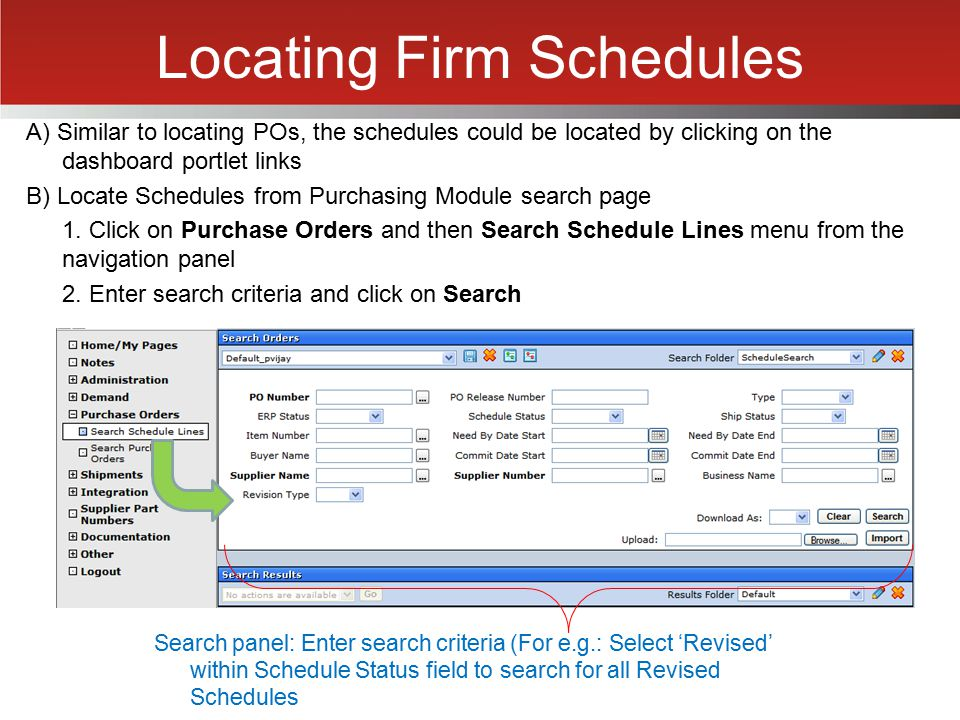 Locating Firm Schedules