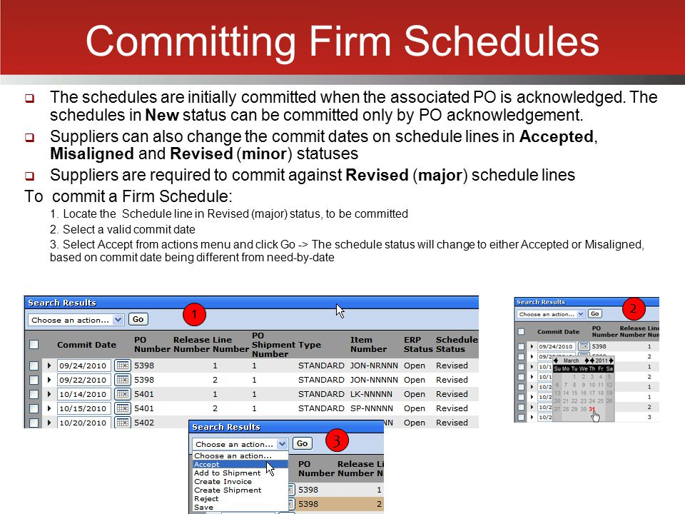 Committing Firm Schedules