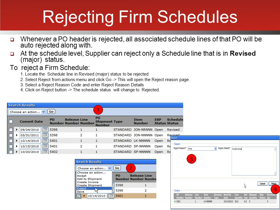 Rejecting Firm Schedules