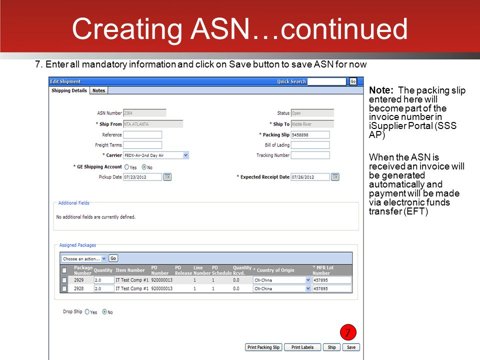 Creating ASN…continued