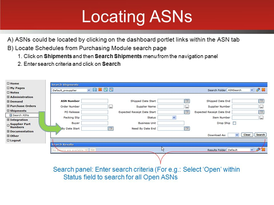 Locating ASNs A) ASNs could be located by clicking on the dashboard portlet links within the ASN tab.