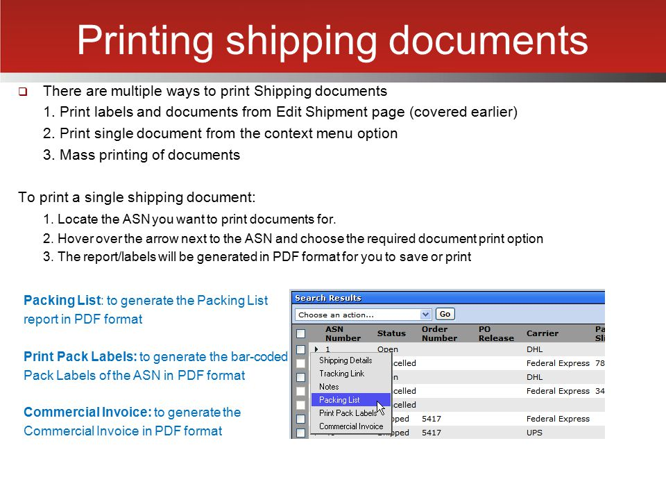 Printing shipping documents