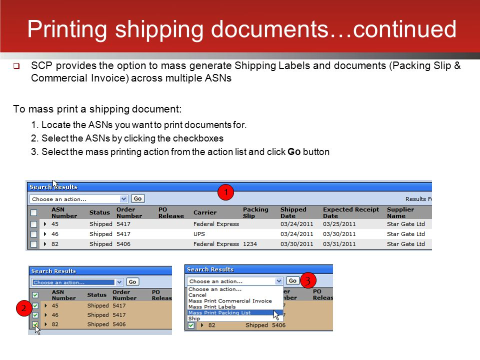 Printing shipping documents…continued