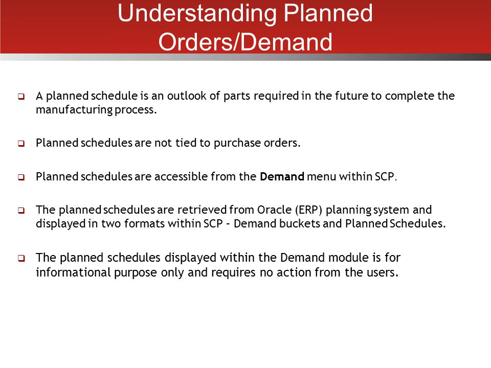 Understanding Planned Orders/Demand