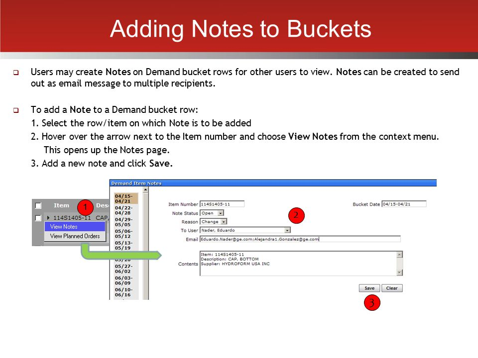 Adding Notes to Buckets