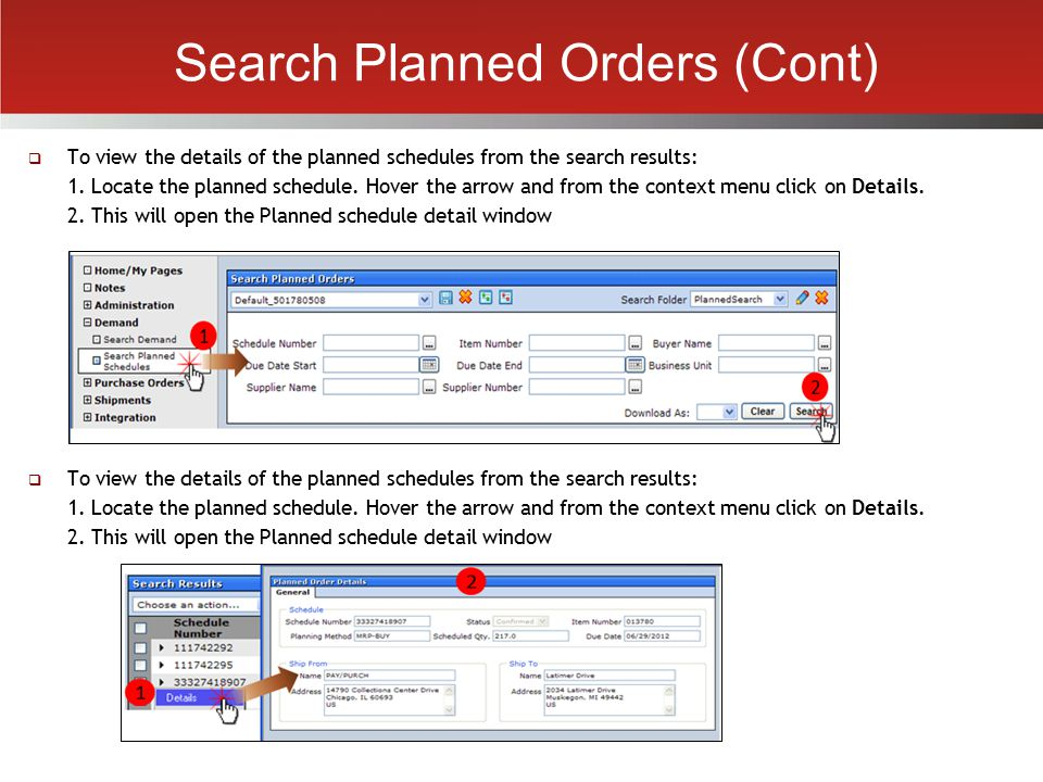 Search Planned Orders (Cont)