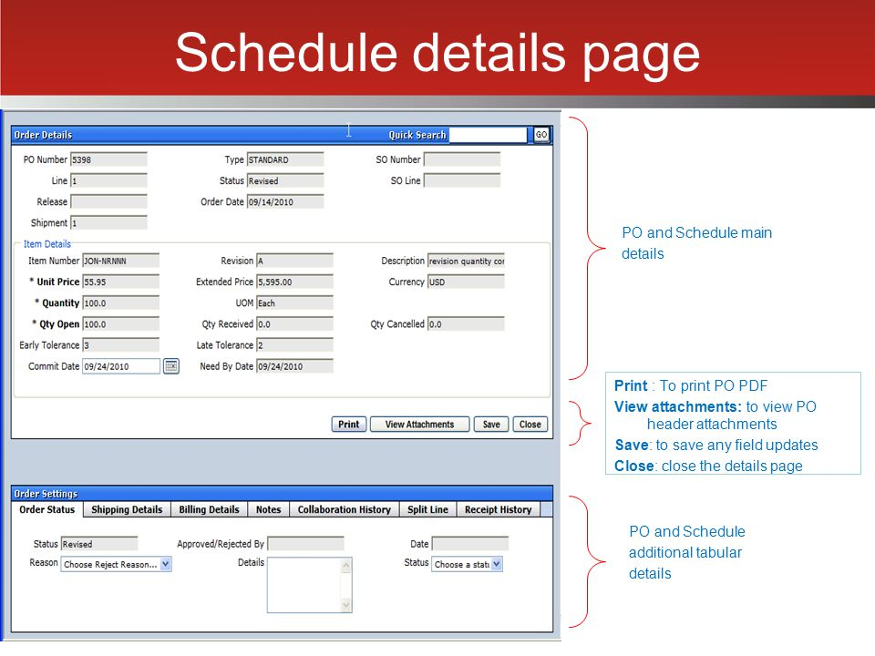 Schedule details page PO and Schedule main details