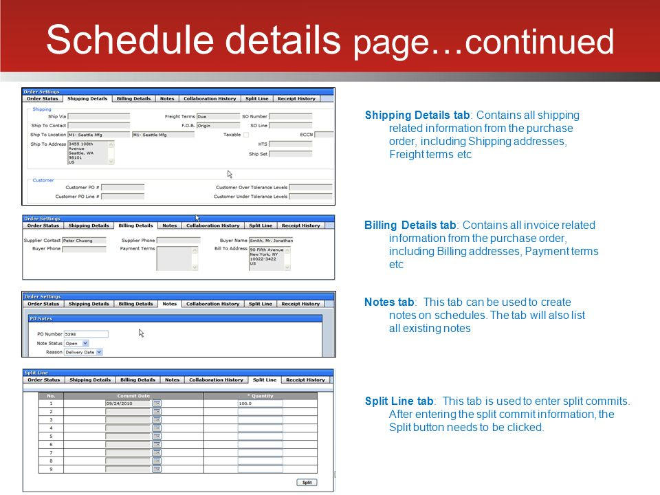 Schedule details page…continued