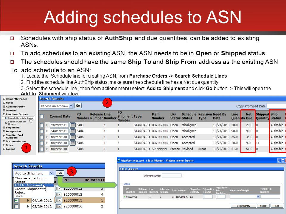 Adding schedules to ASN