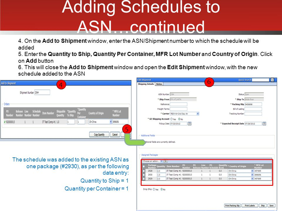 Adding Schedules to ASN…continued
