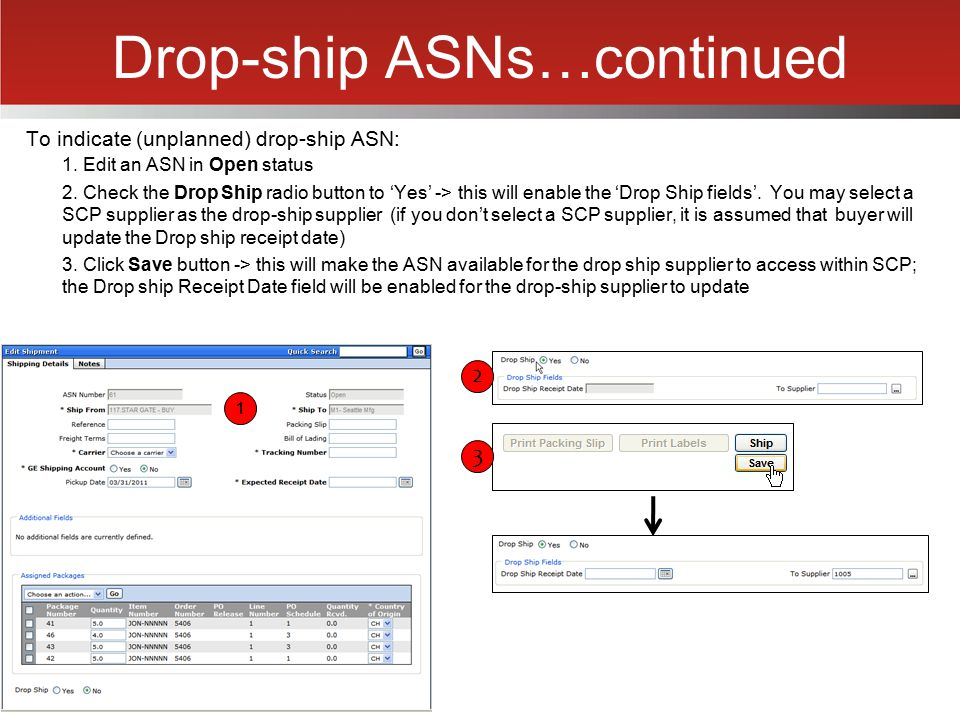 Drop-ship ASNs…continued