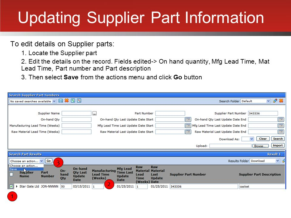 Updating Supplier Part Information