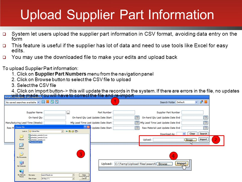 Upload Supplier Part Information