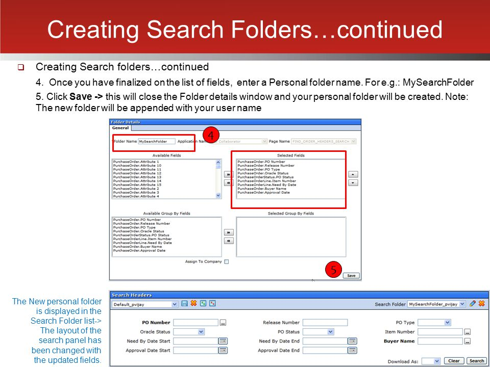 Creating Search Folders…continued