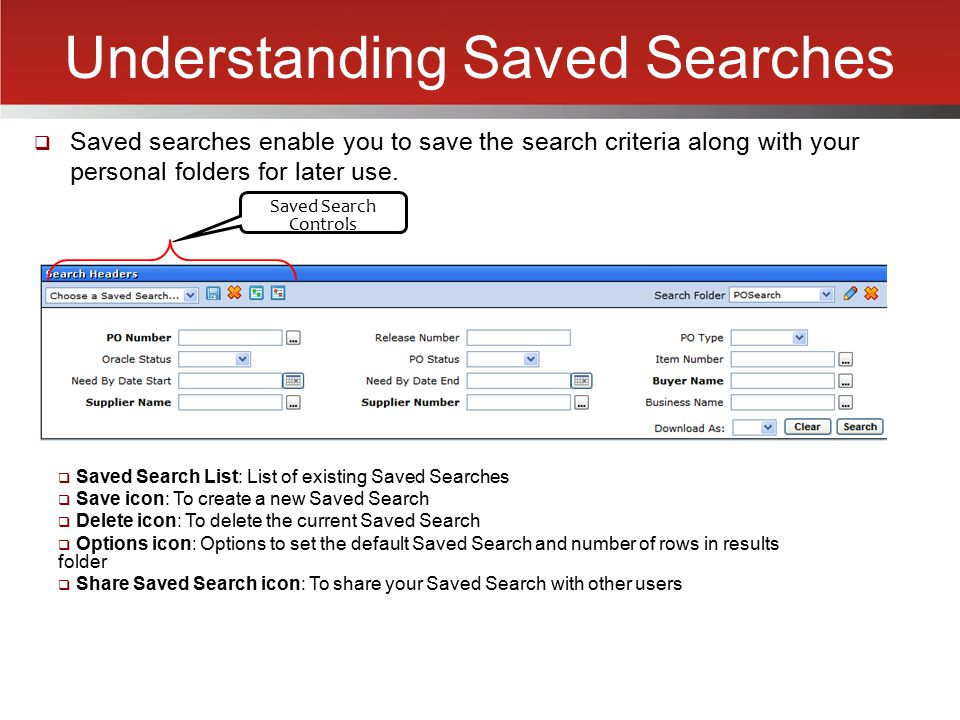 Understanding Saved Searches
