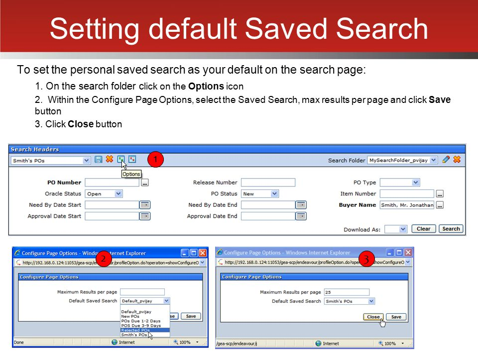 Setting default Saved Search