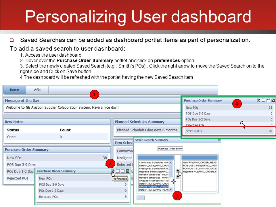 Personalizing User dashboard
