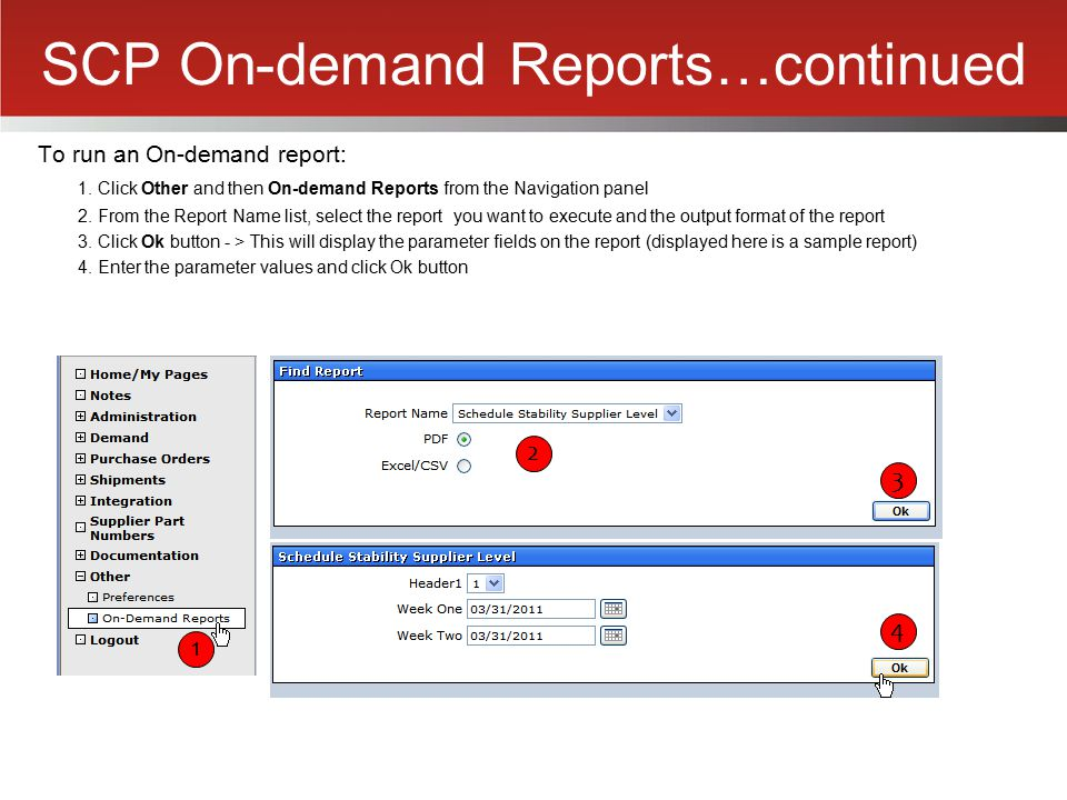 SCP On-demand Reports…continued