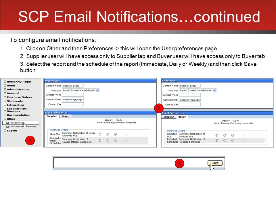 SCP Email Notifications…continued