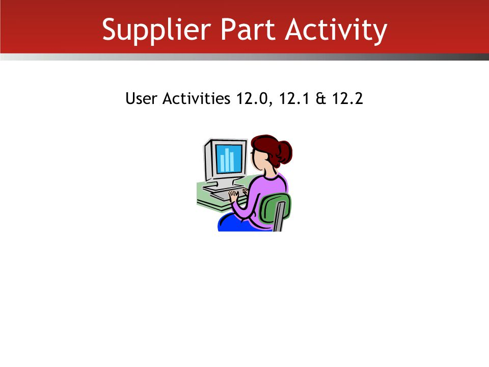 Supplier Part Activity