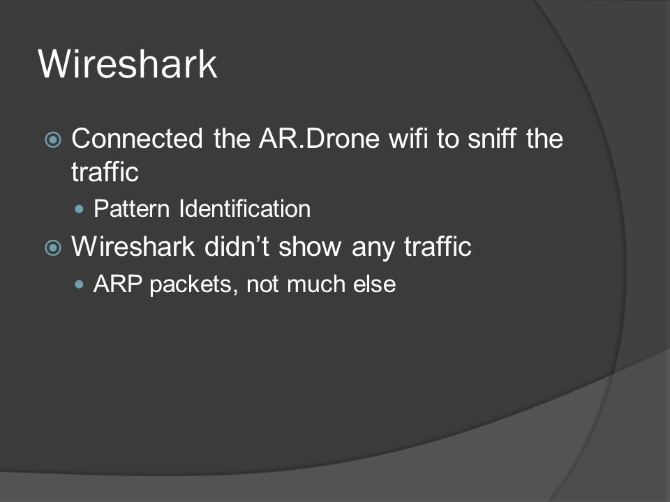 Wireshark Connected the AR.Drone wifi to sniff the traffic
