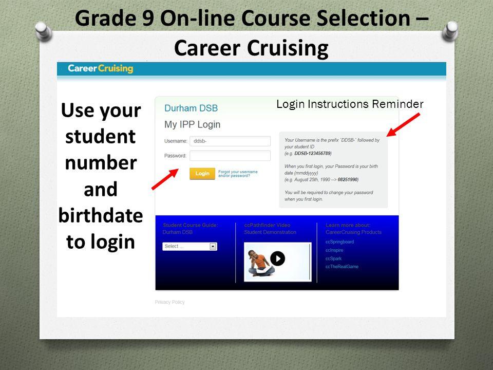 Grade 9 On-line Course Selection – Career Cruising