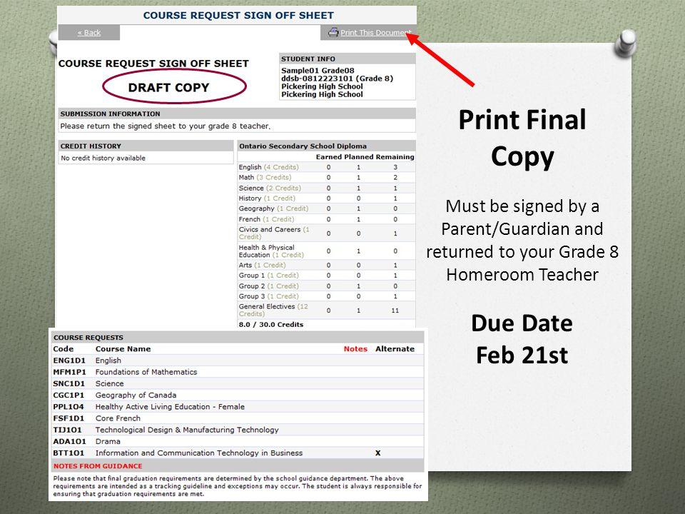 Print Final Copy Due Date Feb 21st