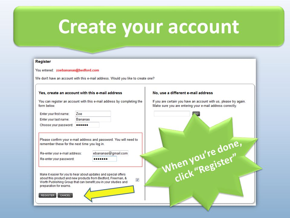 Create your account Alert. Do not throw away your access card until you're registered.
