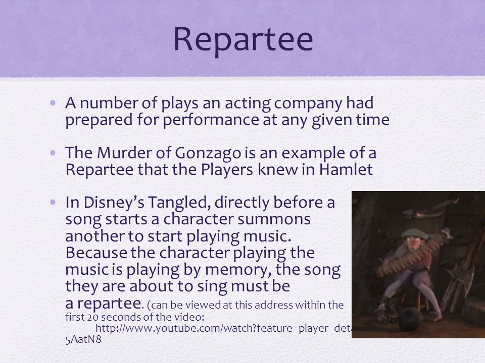 Repartee A number of plays an acting company had prepared for performance at any given time.