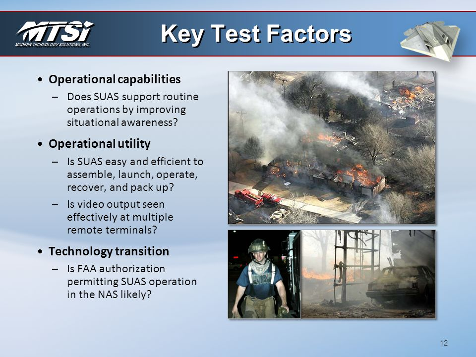 Key Test Factors Operational capabilities Operational utility