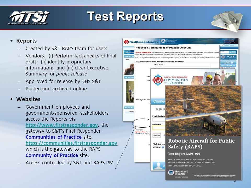 Test Reports Reports Websites Created by S&T RAPS team for users
