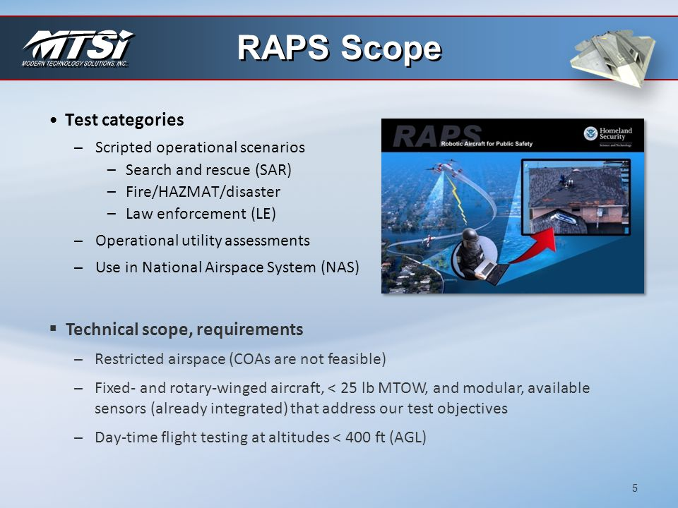 RAPS Scope Test categories Technical scope, requirements