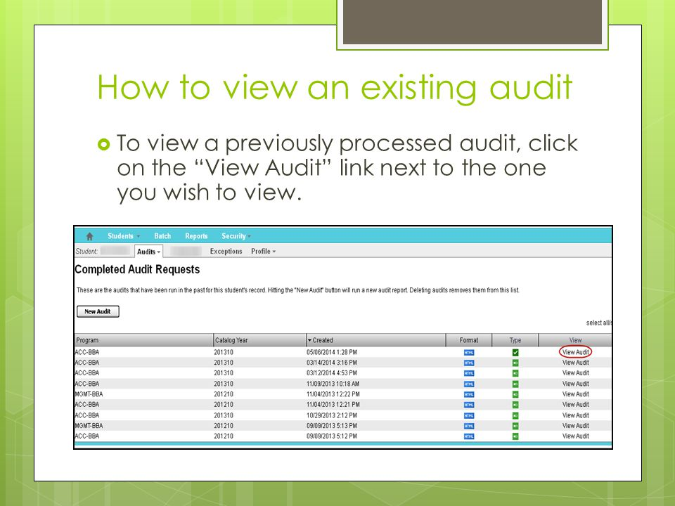 How to view an existing audit