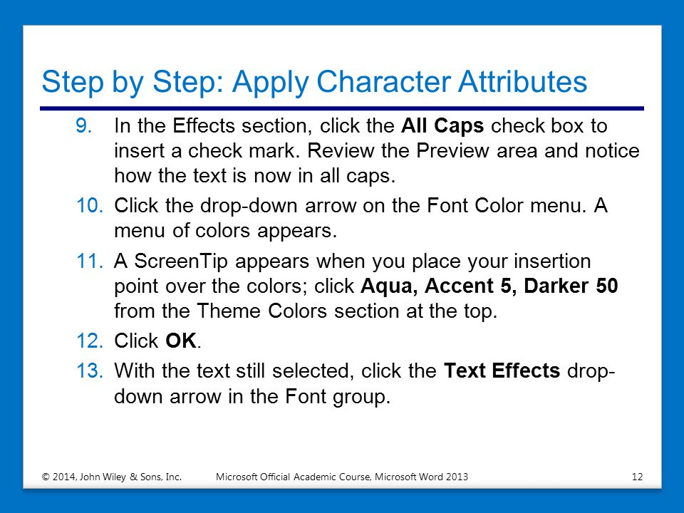 Step by Step: Apply Character Attributes