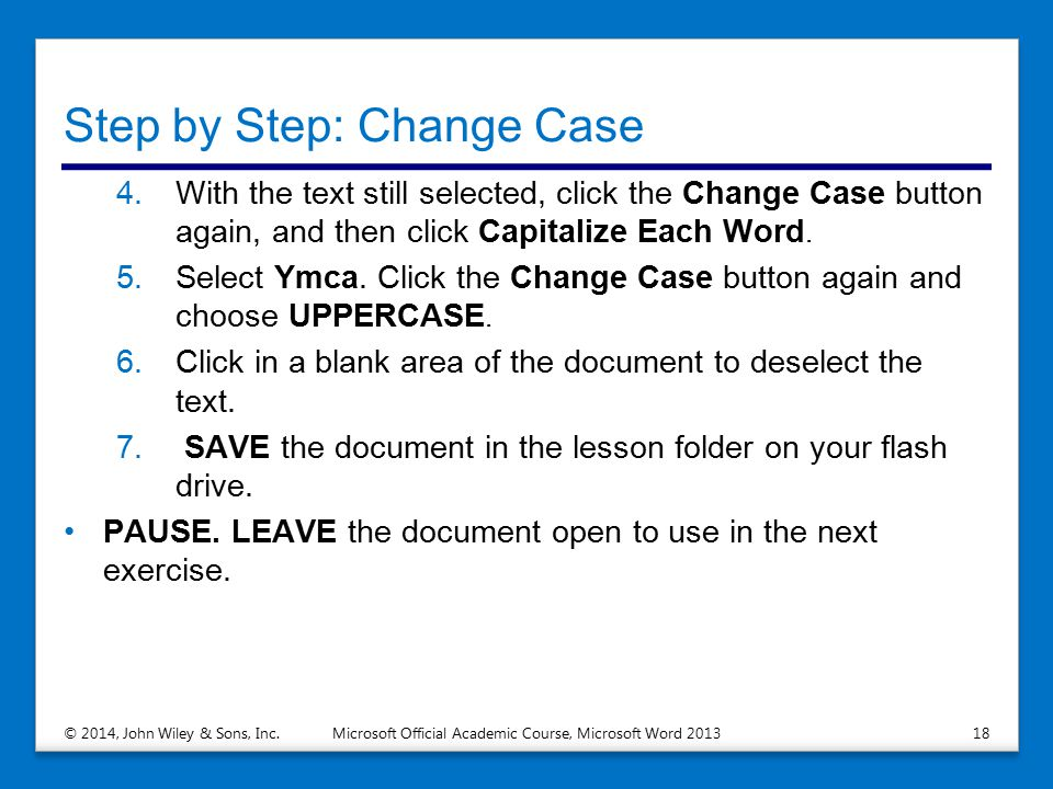 Step by Step: Change Case