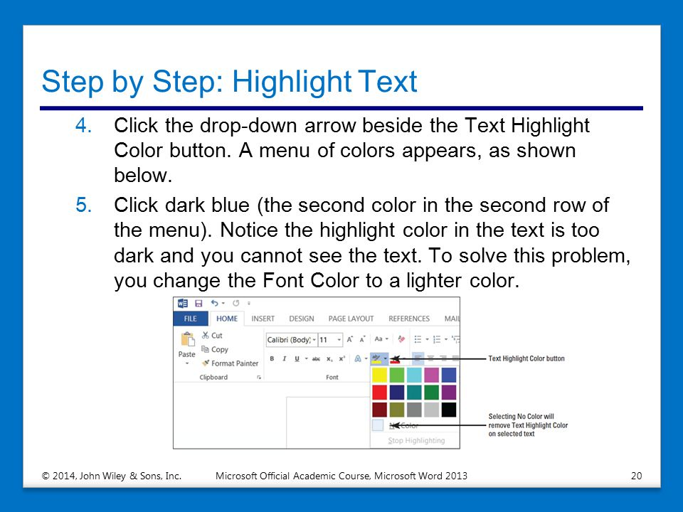 Step by Step: Highlight Text