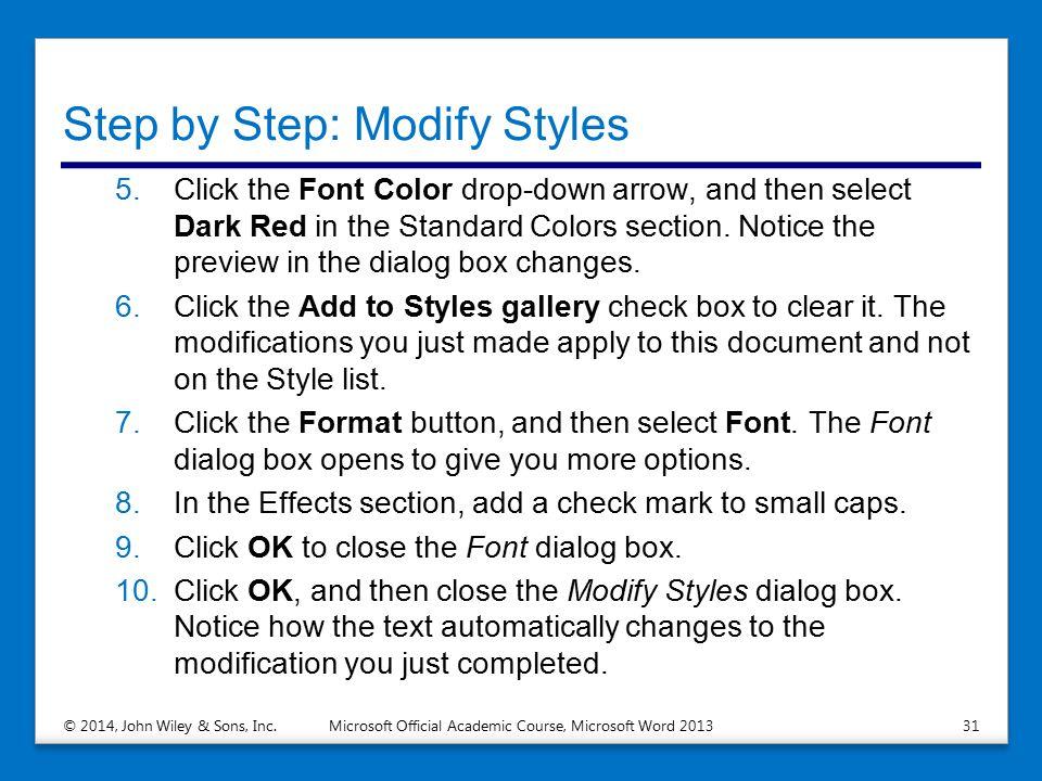 Step by Step: Modify Styles