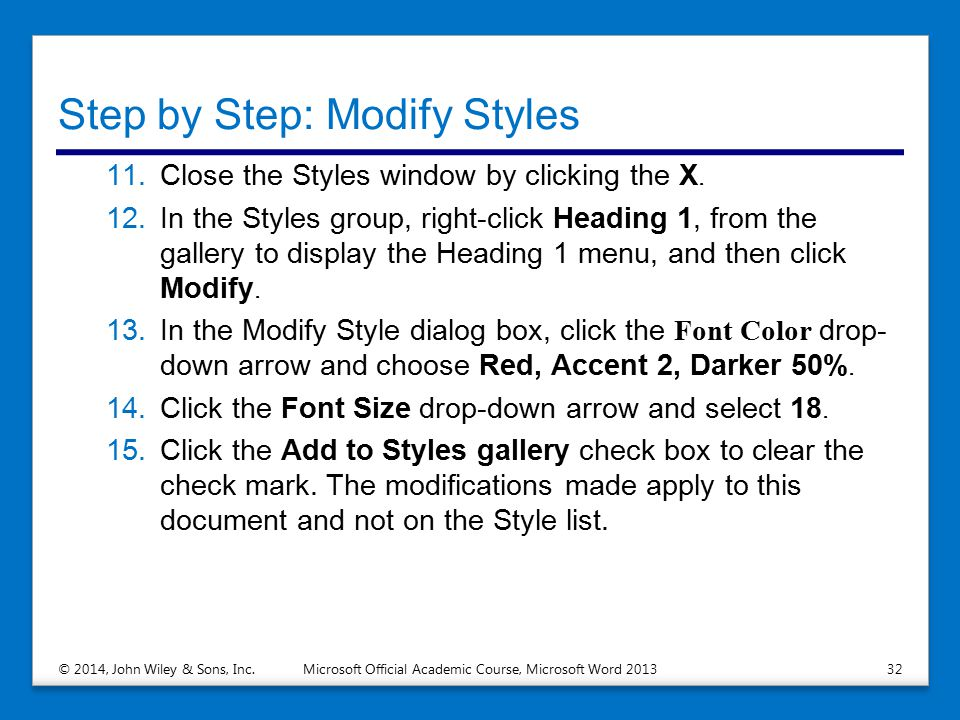 Step by Step: Modify Styles