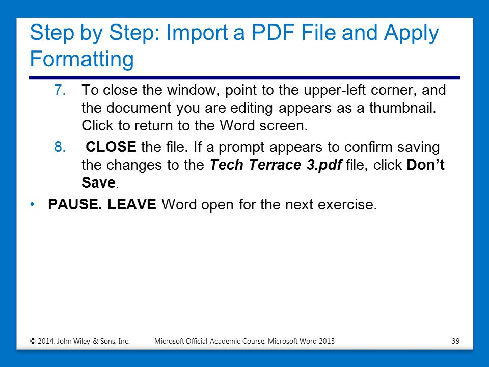 Step by Step: Import a PDF File and Apply Formatting