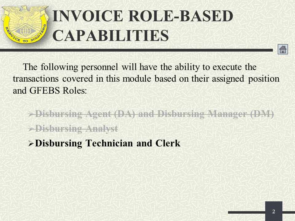 INVOICE ROLE-BASED CAPABILITIES