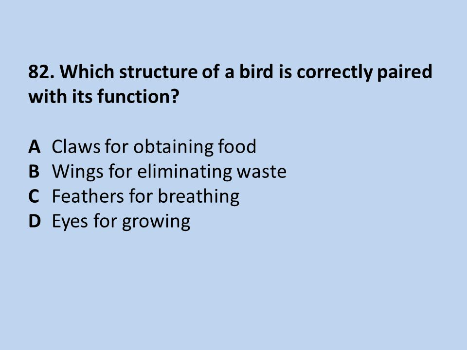 82. Which structure of a bird is correctly paired with its function. A