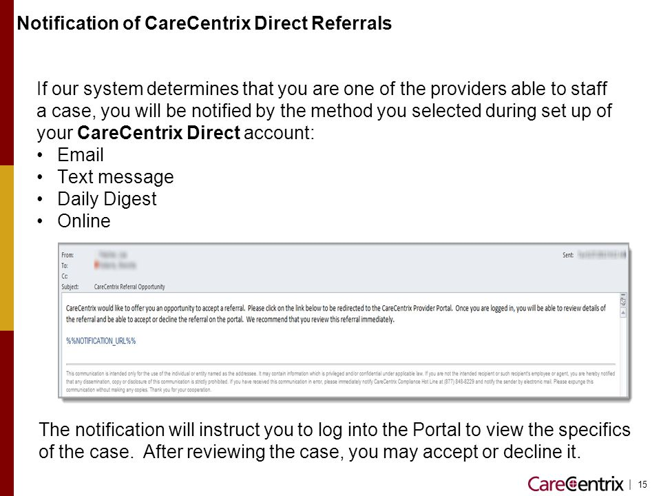 Notification of CareCentrix Direct Referrals
