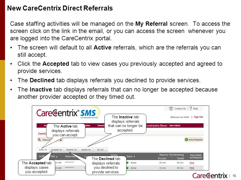 New CareCentrix Direct Referrals